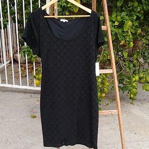 Isaac Mizrahi Black stretch Eyelet midi dress. XXL